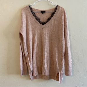 Topshop Pink Speckled Wool Blend Sweater Size 6